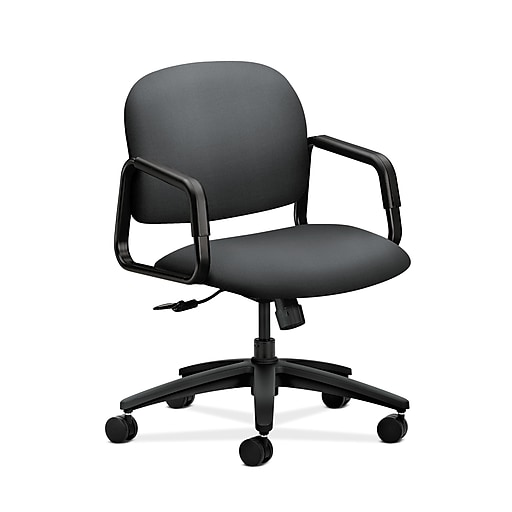 Tremendous Hon Hon4002Nr10T Solutions Seating Mid Back Office Computer Chair Fixed Arms Onyx Fabric Ocoug Best Dining Table And Chair Ideas Images Ocougorg