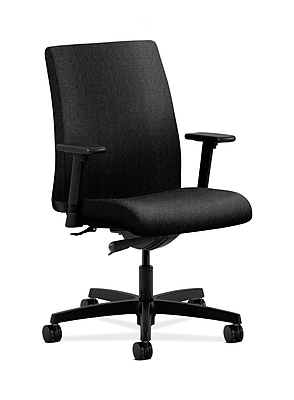 HON Ignition Fabric Computer and Desk Office Chair, Adjustable Arms, Black (HONIT103AB10)