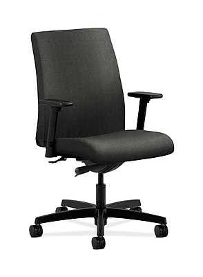 HON Ignition Fabric Computer and Desk Office Chair, Adjustable Arms, Gray (HONIT103AB12)