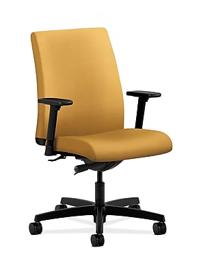 HON Ignition Fabric Computer and Desk Office Chair, Adjustable Arms, Mustard (HONIT103NR26)