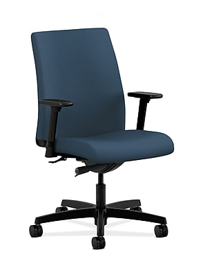 HON Ignition Fabric Computer and Desk Office Chair, Adjustable Arms, Jet (HONIT103SX05)
