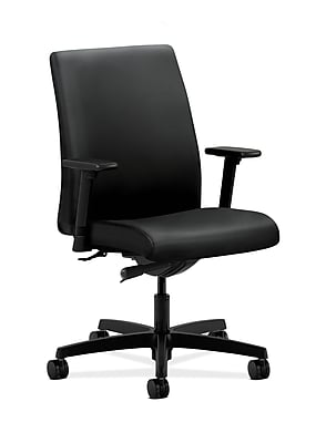 HON Ignition Fabric Computer and Desk Office Chair, Adjustable Arms, Black (HONIT103UR10)