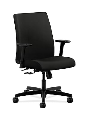 HON Ignition Fabric Computer and Desk Office Chair, Adjustable Arms, Black (HONIT105WP40)