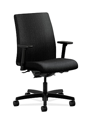 HON Ignition Fabric Computer and Desk Office Chair, Adjustable Arms, Black (HONIT202AB10)