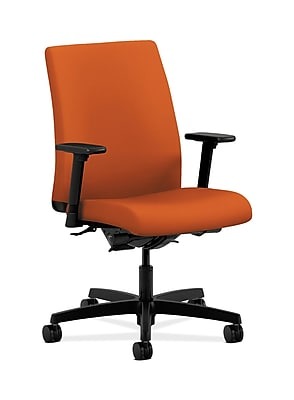 HON Ignition Fabric Computer and Desk Office Chair, Adjustable Arms, Tangerine (HONIT202CU46)