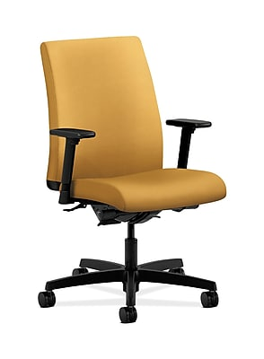 HON Ignition Fabric Computer and Desk Office Chair, Adjustable Arms, Mustard (HONIT202NR26)