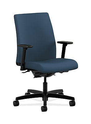 HON Ignition Fabric Computer and Desk Office Chair, Adjustable Arms, Jet (HONIT202SX05)