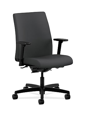 HON Ignition Fabric Computer and Desk Office Chair, Adjustable Arms, Carbon Fabric (HONIT202SX23)