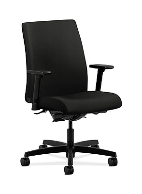 HON Ignition Fabric Computer and Desk Office Chair, Adjustable Arms, Black (HONIT202WP40)