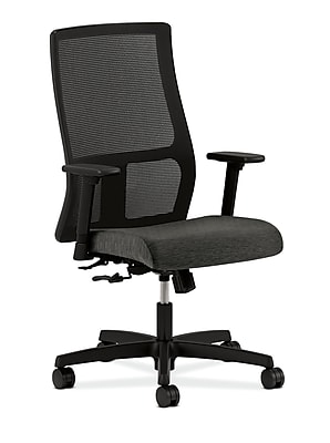 HON Ignition Fabric Computer and Desk Office Chair, Adjustable Arms, Onyx (HONIW101AI10)