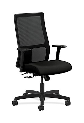 HON Ignition Fabric Computer and Desk Office Chair, Adjustable Arms, Black (HONIW101WP40)