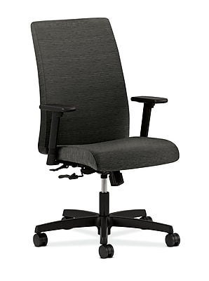 HON Ignition Fabric Computer and Desk Office Chair, Adjustable Arms, Black (HONIW102AHUAI10)