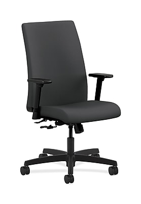 HON Ignition Plastic Computer and Desk Office Chair, Adjustable Arms, Black (HONIW102SX23)