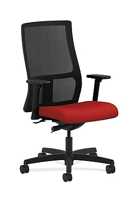 HON Ignition Fabric Computer and Desk Office Chair, Adjustable Arms, Red (HONIW103CU66)