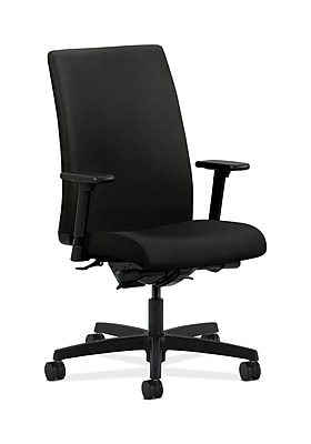 HON Ignition Fabric Computer and Desk Office Chair, Adjustable Arms, Black (HONIW104WP40)