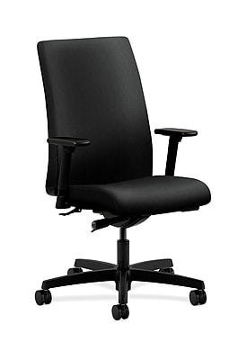 HON Ignition Fabric Computer and Desk Office Chair, Adjustable Arms, Black (HONIW114AB10)