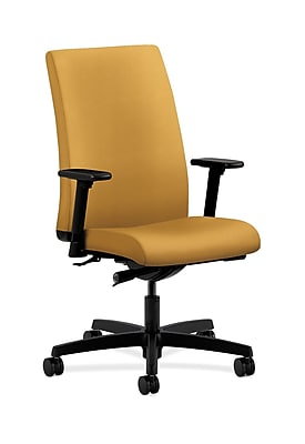 HON Ignition Fabric Computer and Desk Office Chair, Adjustable Arms, Mustard (HONIW114NR26)