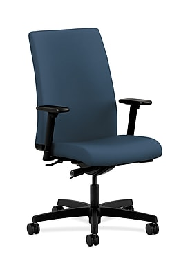 HON Ignition Fabric Computer and Desk Office Chair, Adjustable Arms, Jet (HONIW114SX05)