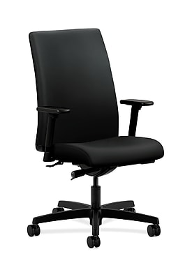 HON Ignition Fabric Computer and Desk Office Chair, Adjustable Arms, Black (HONIW114UR10)