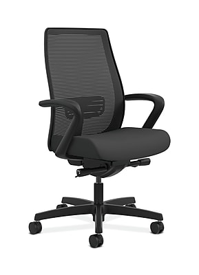 HON HONLWIM2FCU19 Endorse Collection Fabric-Upholstered Mesh Mid-Back Office/Computer Chair, Fixed Arms, Iron Ore