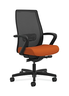 HON Endorse Collection HONLWIM2FCU46 Fabric Seat Mesh Mid-Back Office/Computer Chair, Fixed Arms, Tangerine