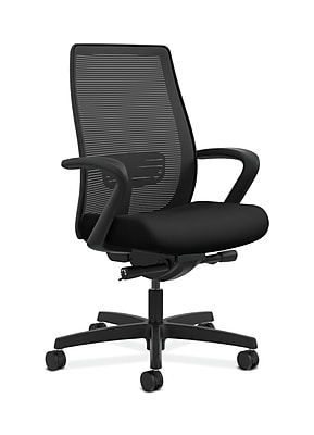HON HONLWIM2FUR10 Endorse Collection Mesh Fabric-Upholstered Mid-Back Office/Computer Chair, Fixed Arms, Black