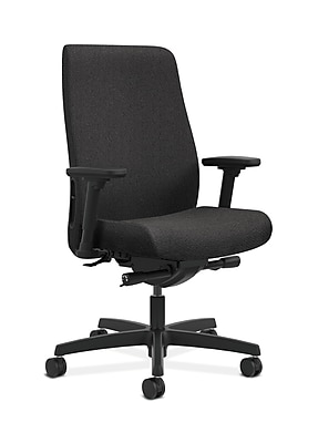 HON Endorse Fabric Computer and Desk Office Chair, Adjustable Arms, Black (HONLWU2AAB10)