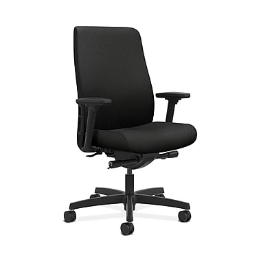 HON Endorse Fabric Computer and Desk Office Chair, Adjustable Arms, Black (HONLWU2ANT10)
