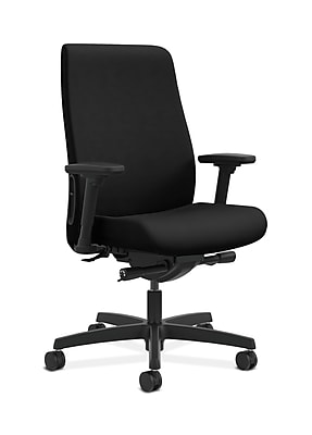 HON Endorse Fabric Computer and Desk Office Chair, Adjustable Arms, Black (HONLWU2AUR10)