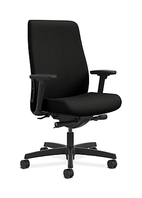 HON Endorse Fabric Computer and Desk Office Chair, Adjustable Arms, Black (HONLWU2AWP40)