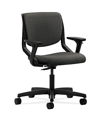 HON Motivate HONMT102AI10 Upholstered Back Office/Computer Chair, Adjustable Arms, Onyx Shell, Onyx Fabric