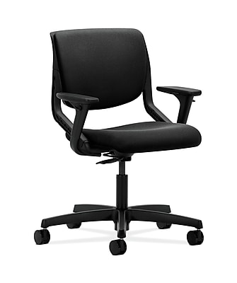 HON HONMT102CU10 Motivate Fabric-Upholstered Back Office/Computer Chair, Adjustable Arms, Onyx Shell, Black