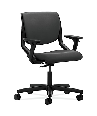 HON HONMT102CU19 Motivate Fabric-Upholstered Back Office/Computer Chair, Adjustable Arms, Onyx Shell, Iron Ore