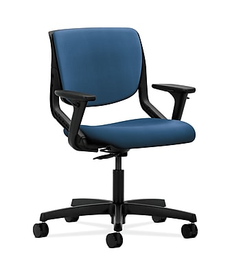 HON HONMT102NR90 Motivate Upholstered Back Office/Computer Chair, Adjustable Arms, Onyx Shell, Regatta Fabric