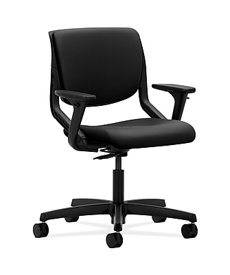HON HONMT102UR10 Motivate Upholstered Back Office/Computer Chair, Adjustable Arms, Onyx Shell, Black Fabric