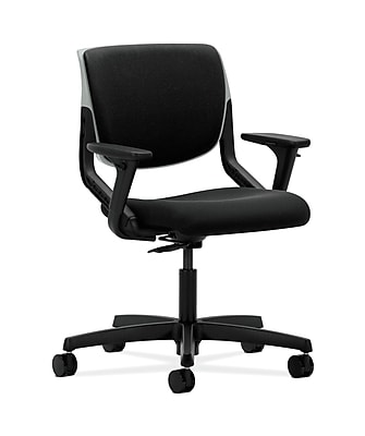 HON Motivate Fabric Computer and Desk Office Chair, Adjustable Arms, Black (HONMT103AB10)