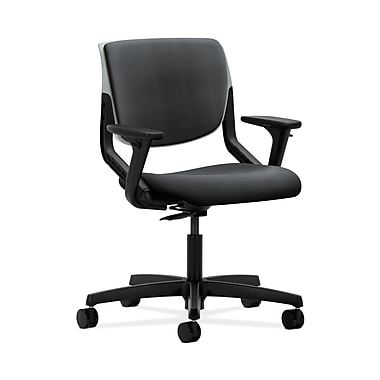 HON HONMT103NR10 Motivate Upholstered Back Office/Computer Chair, Adjustable Arms, Platinum Shell, Onyx Fabric
