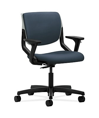 HON Motivate Plastic Computer and Desk Office Chair, Adjustable Arms, Jet (HONMT103SX05)