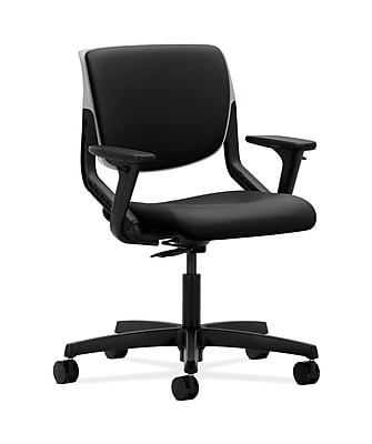HON HONMT103UR10 Motivate Fabric-Upholstered Back Office/Computer Chair, Adjustable Arms, Platinum Shell, Black
