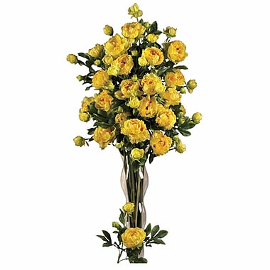 Nearly Natural 38.5'' Peony w/ Leaves Floral Arrangements in Yellow (Set of 12)