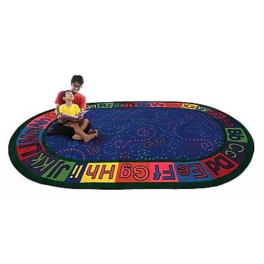Kid Carpet Alpha Circle Time ABC Blue Area Rug; Oval 6' x 8'6''