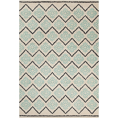 Chandra Stella Patterned Contemporary Wool Cream/Aqua Area Rug; 8' x 10'