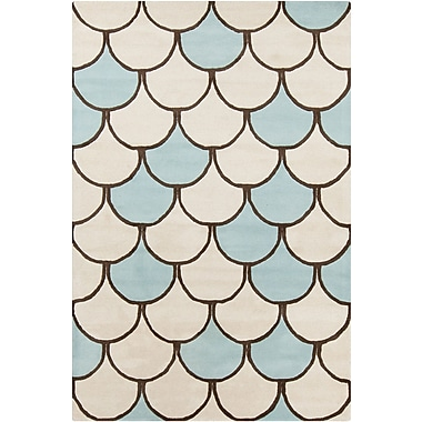 Chandra Stella Patterned Contemporary Wool Cream/Blue Area Rug; 8' x 10'