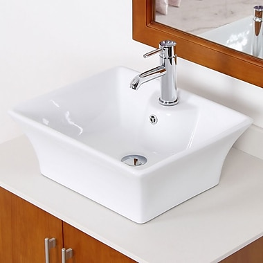 American Imaginations Ceramic Rectangular Vessel Bathroom Sink w/ Overflow; Brushed Nickel