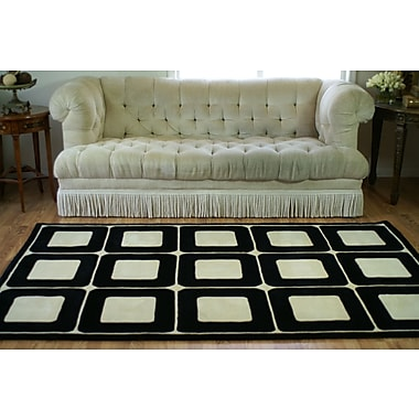 American Home Rug Co. Casual Contemporary Blocks HandTufted Wool Ivory/Black Area Rug; 3'6'' x 5'6''