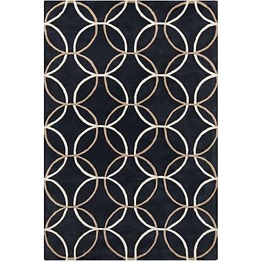 Chandra Stella Patterned Contemporary Wool Charcoal Area Rug; 8' x 10'