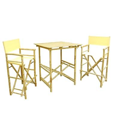 ZEW Bamboo 3 Piece Bar Set w/ Cushion; Nude