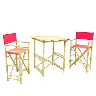 ZEW Bamboo 3 Piece Bar Set w/ Cushion; Red