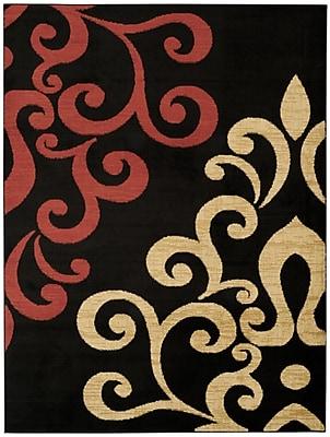 Rugnur Pasha Maxy Home Contemporary Filigree Spade Black/Red Area Rug; 7'10'' x 10'6''