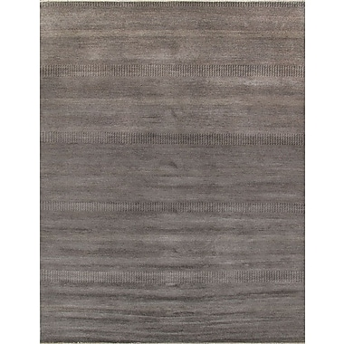 Pasargad Hand-Knotted Wool and Rayon from Bamboo Silk Black Area Rug